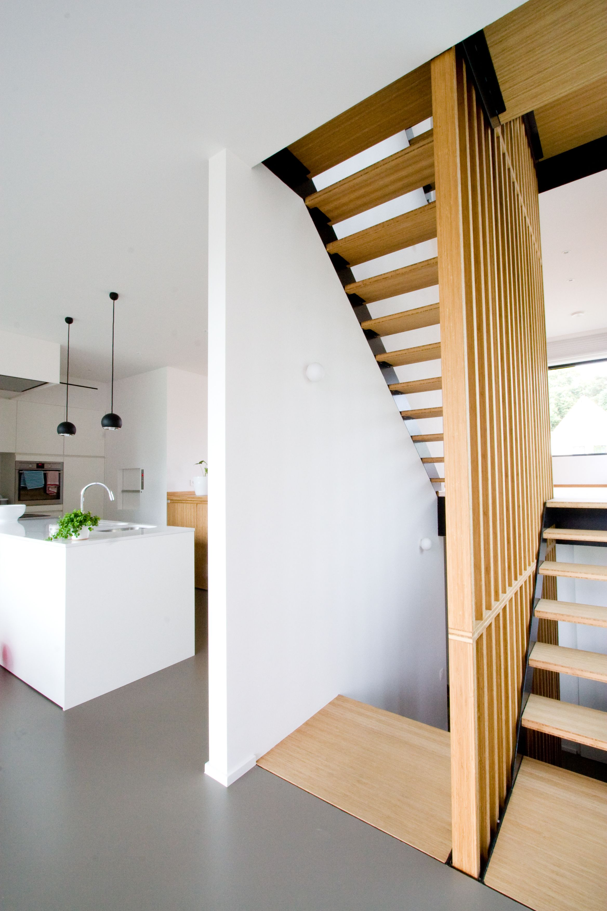 Split-level house with PU floor and steel and bamboo stairs.   Good ...