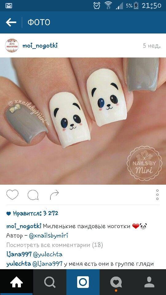 Panda nails thenailtrails photo on instagram my favorite nail cute panda nails prinsesfo Choice Image