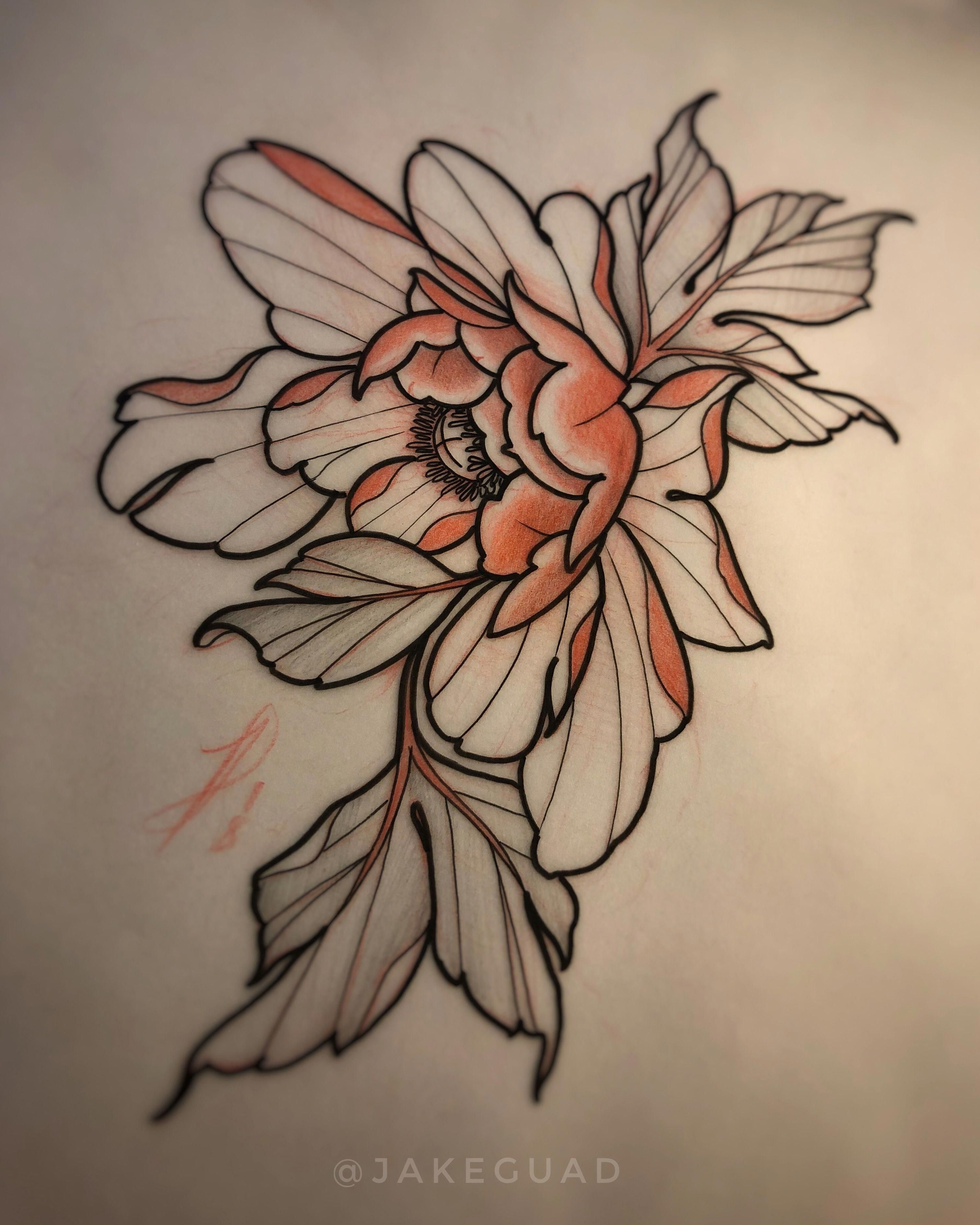 Neo traditional tattoo flash peony by Jake Guad