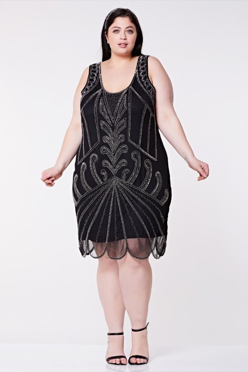 Art Deco Cocktail Dress in Black Silver | Great Gatsby & 1920s ...