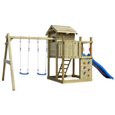 vidaXL Aire de jeux avec échelle, toboggan et balançoires en bois 2 ... 073b71394d93