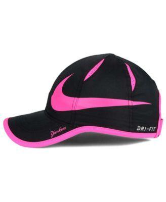 32662e1666cf7 Nike Women s New York Yankees Featherlight Adjustable Cap - Black Pink  Adjustable