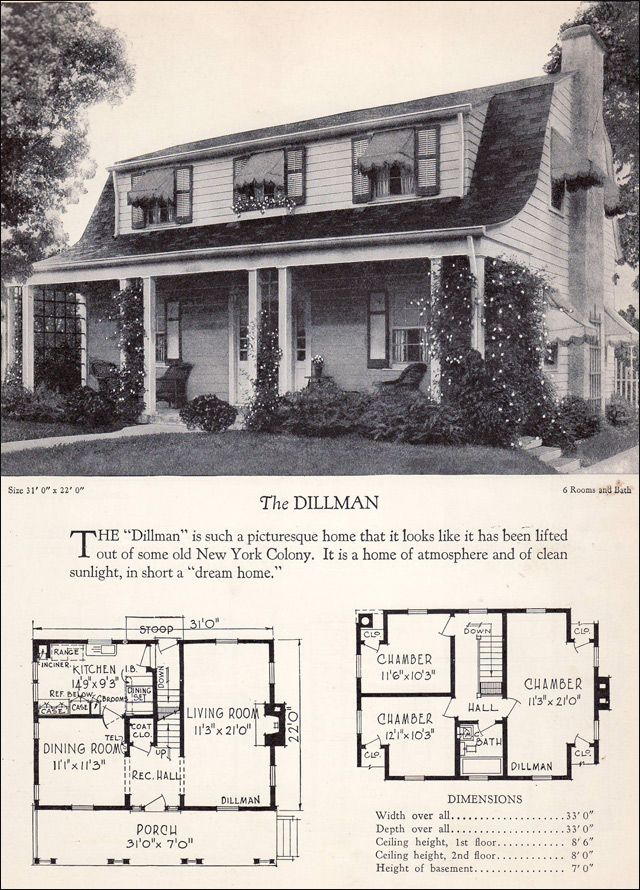 1920s Dutch Colonial Revival with Covered Porch 1928 Home Builders Catalog Gambrel Roof