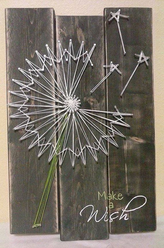 dandelion string art by nailedandhammered on etsy my. Black Bedroom Furniture Sets. Home Design Ideas