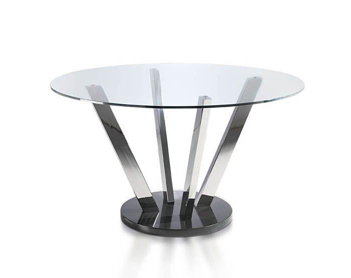 Mesa comedor redonda en cristal templado y patas en acero cromado ...