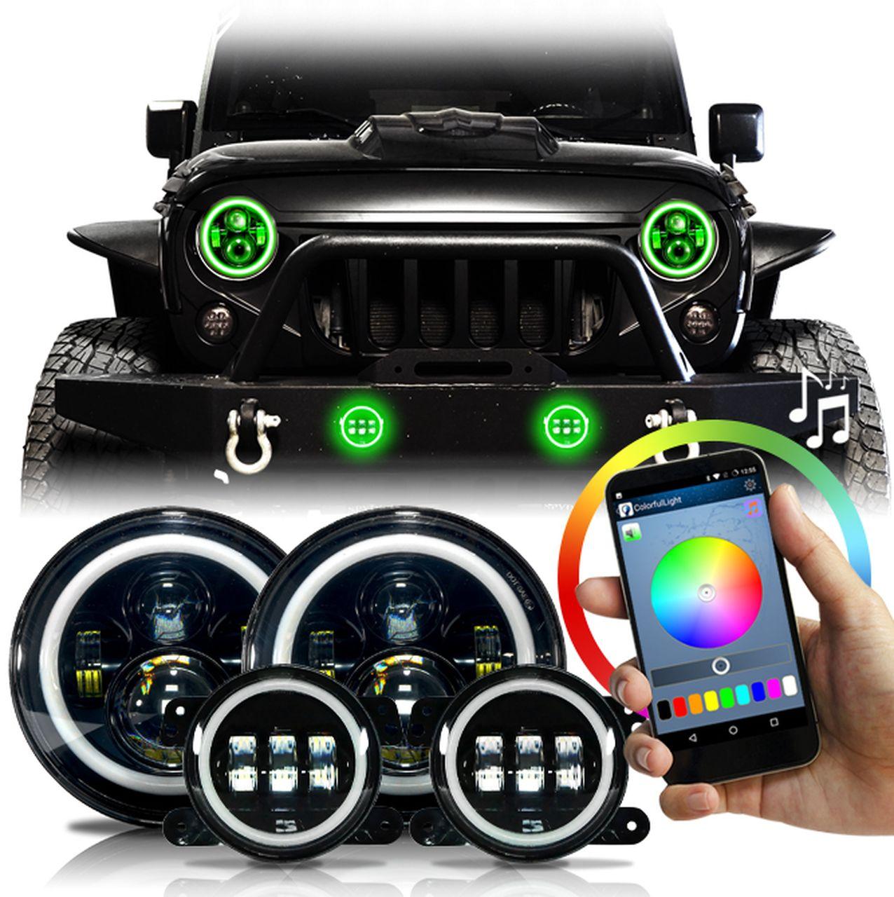 HALO RGB Color Projector LED Headlights & Fog Lights Kit