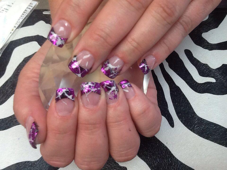 Get polished- purple tip with gel foil gel nails | Get Polished ...