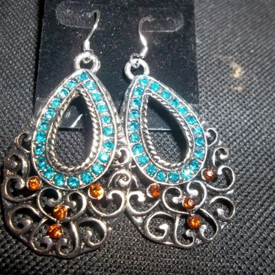 Checkout this amazing product Teal and Rose Earrings at Shopintoit