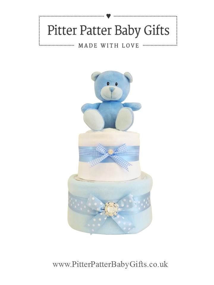 Blossom Two Tier Nappy Cake. A perfect gift for a baby shower. Buy from www.PitterPatterBabyGifts.co.uk