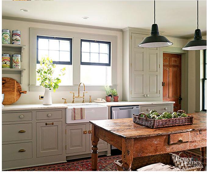 English Country Kitchen, English Cottage Kitchen, Plain English Kitchen, Pendant  Lights, Rustic