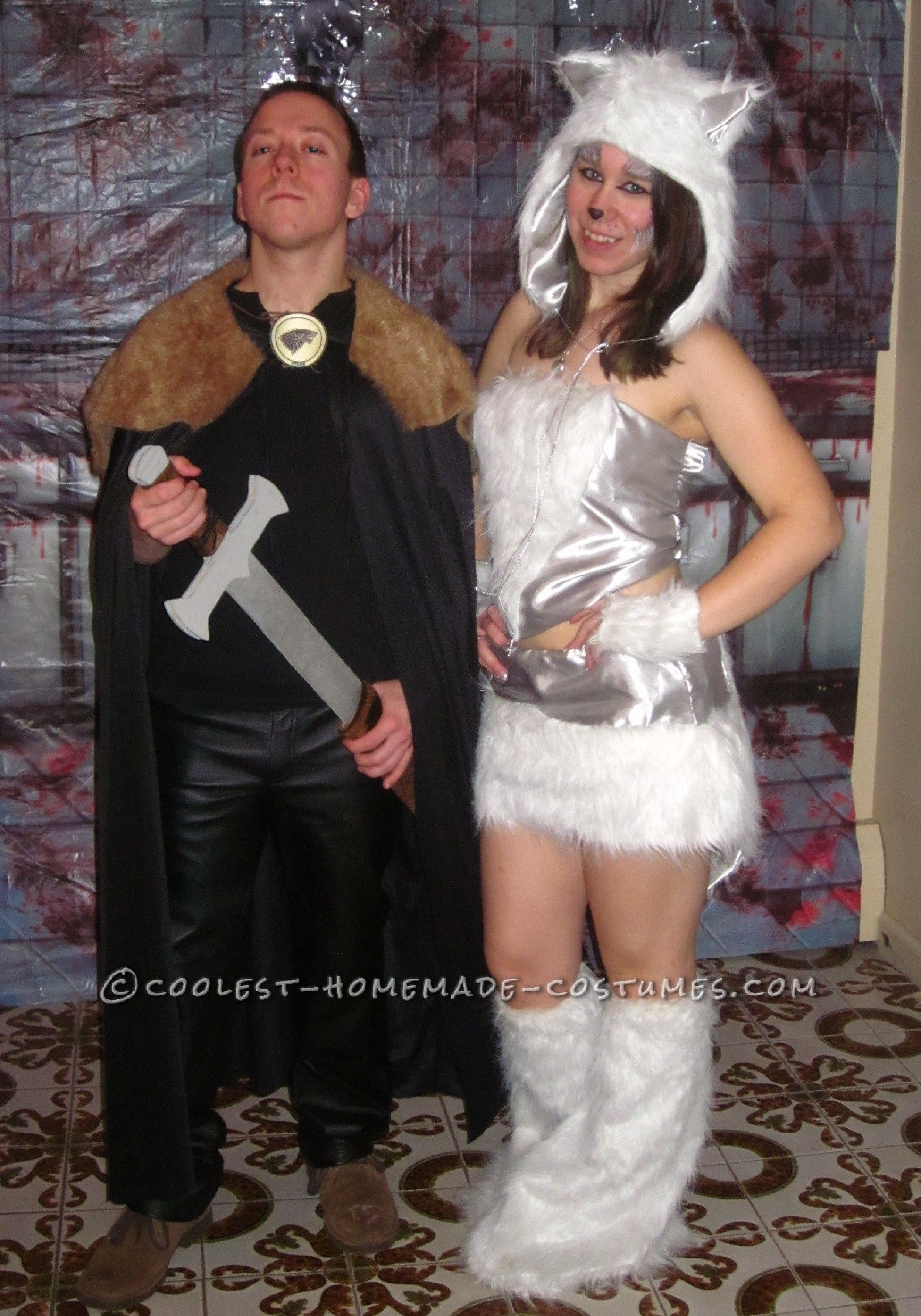 Homemade Costume Contest Cool Jon Snow and Ghost Homemade Couple Costume  sc 1 st  Pinterest & Cool Jon Snow and Ghost Homemade Couple Costume | Homemade couples ...