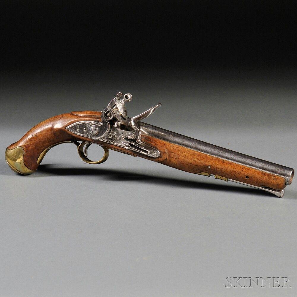 British Light Dragoon Pistol C 1810 Walnut Stock Branded With P7a In Front Of The Triggerguard Brass Fittin Antique Guns Black Powder Guns Flintlock Pistol