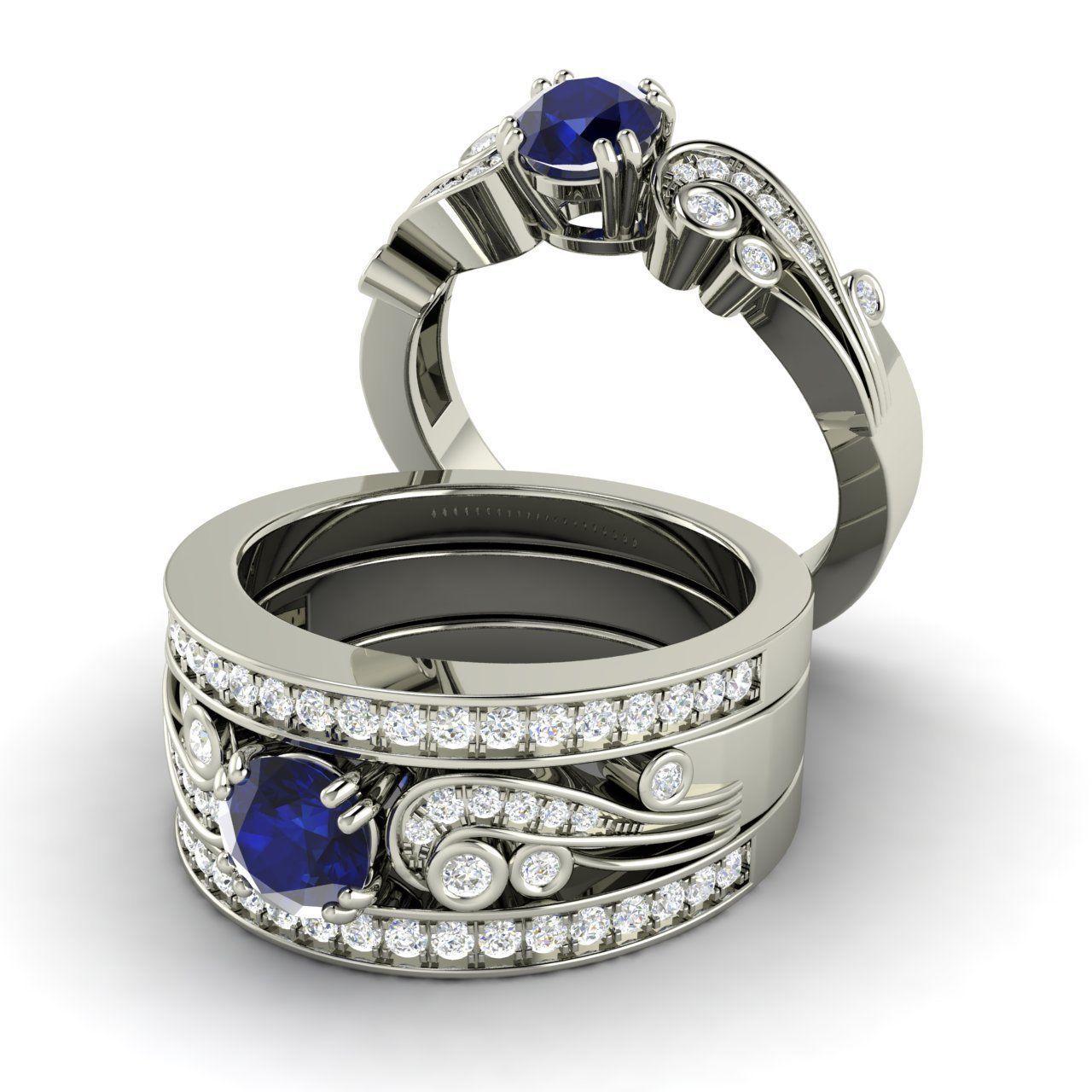 Sapphire Diamond Bridal Set Engagement Ring And Wedding Band 14ct White Gold