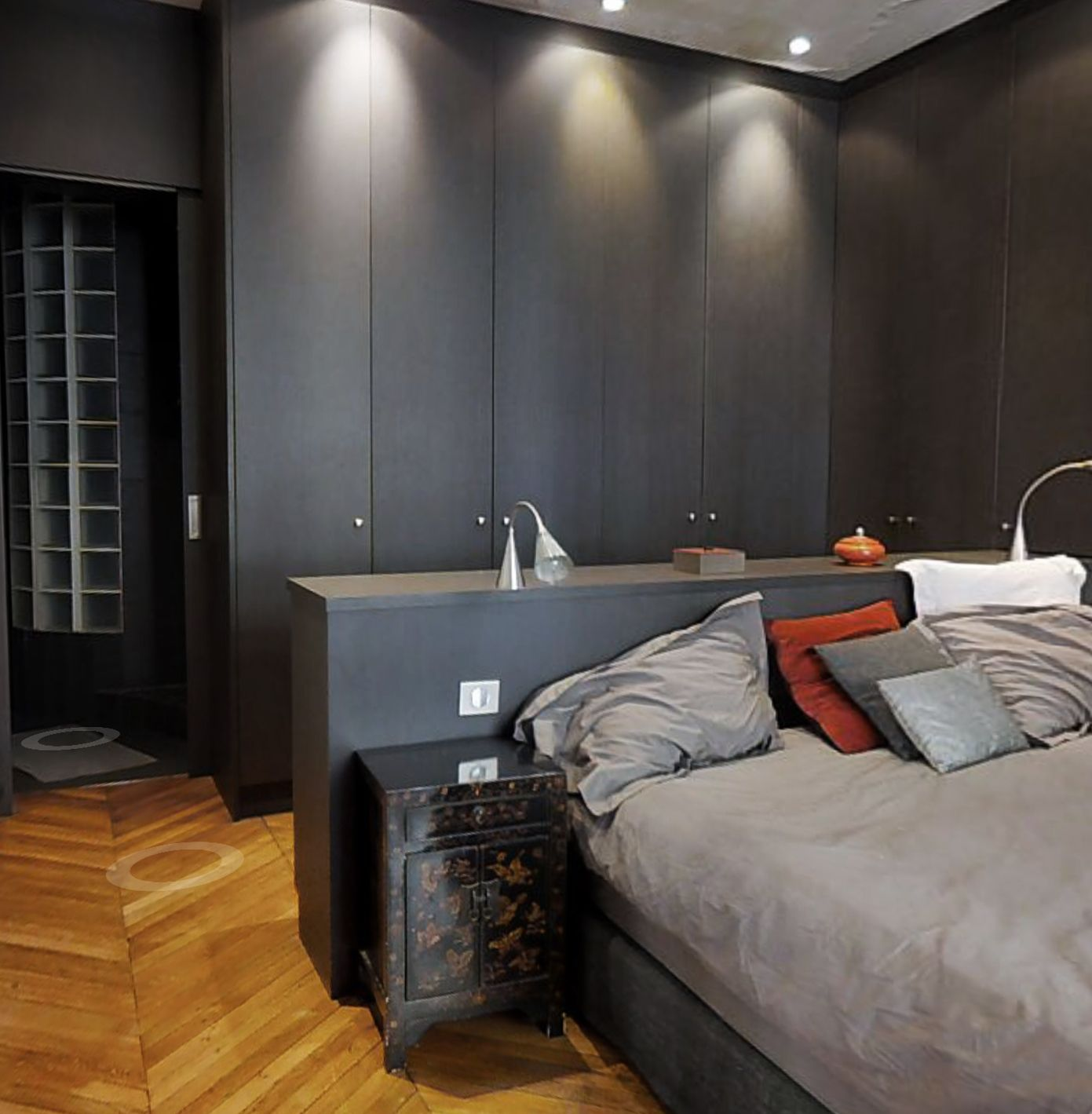 traitement d 39 un chambre parentale appartement paris 17 em r alisations pinterest. Black Bedroom Furniture Sets. Home Design Ideas