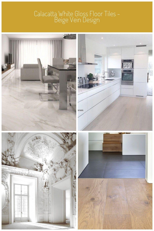 Calacatta White Gloss Floor Tiles Beige Design white