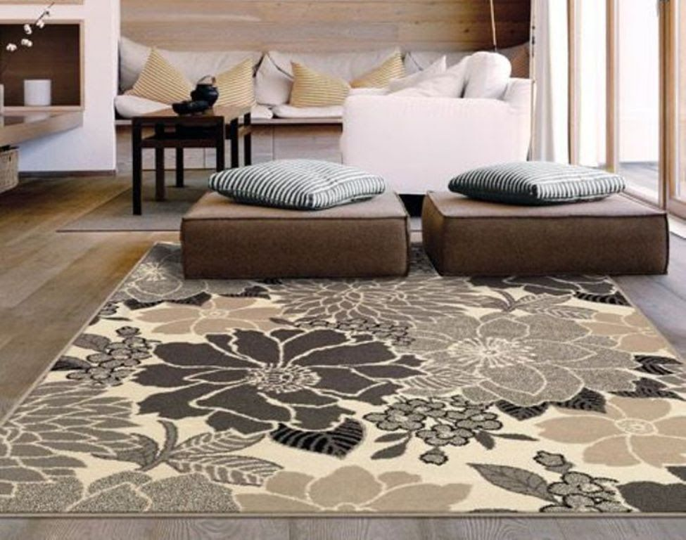 5x7 Area Rugs Contemporary Square Light Brown Fl Pattern Wool Carpet Flowers Large Interior Modern