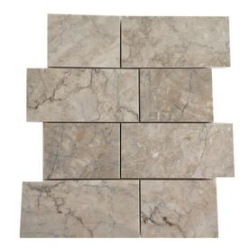 Allen Roth Genuine Stone Gray Marble Natural Mosaic Subway Indoor Outdoor Wall Tile