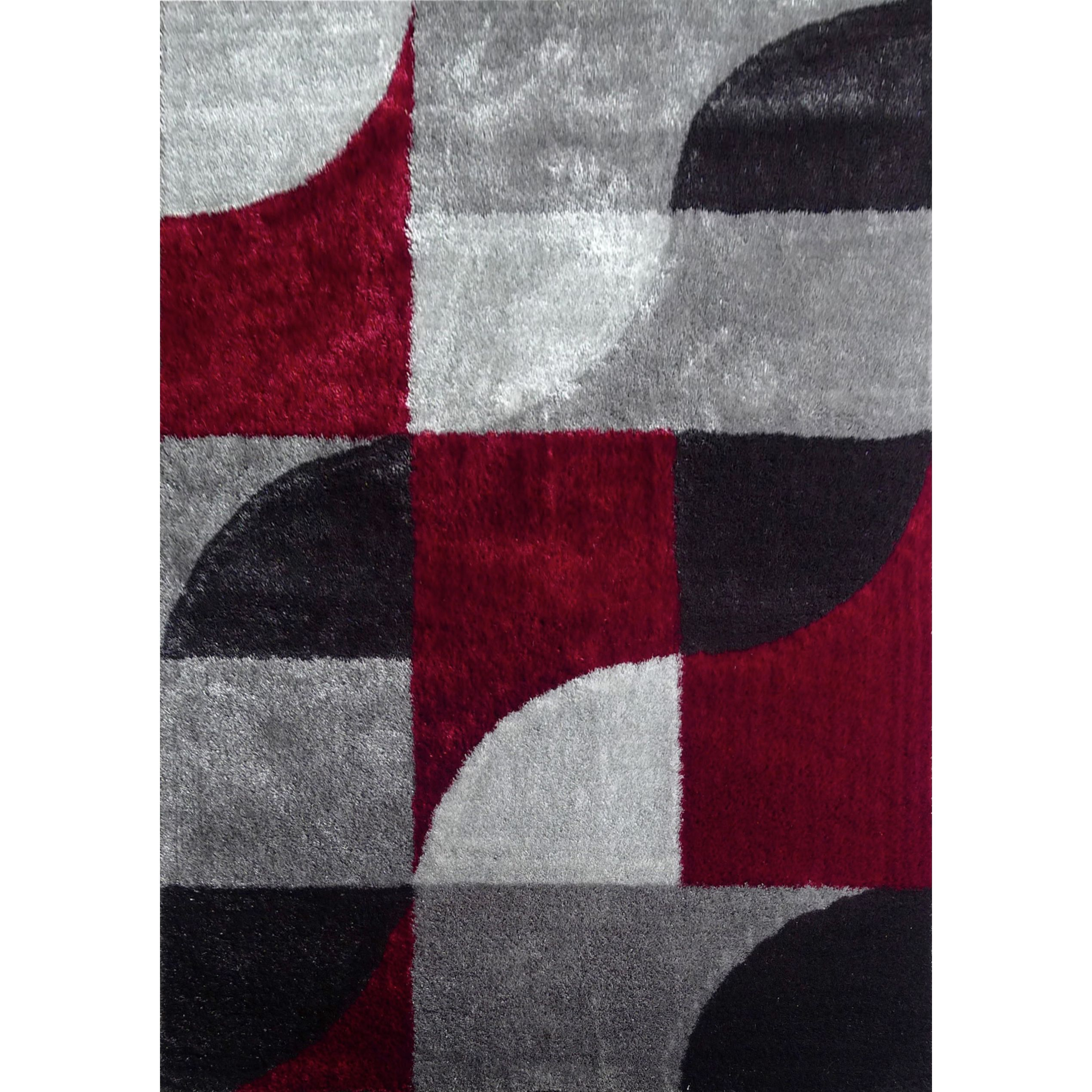 hand-tufted polyester red with light silver to dark gray shag area