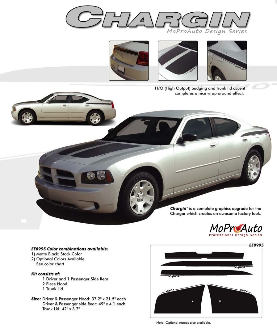 Chargin 1 Dodge Charger H O Hood Vinyl Graphics And Side Decals Stripes Kit Fits 2006 2010 Dodge Charger Stripe Kit Dodge