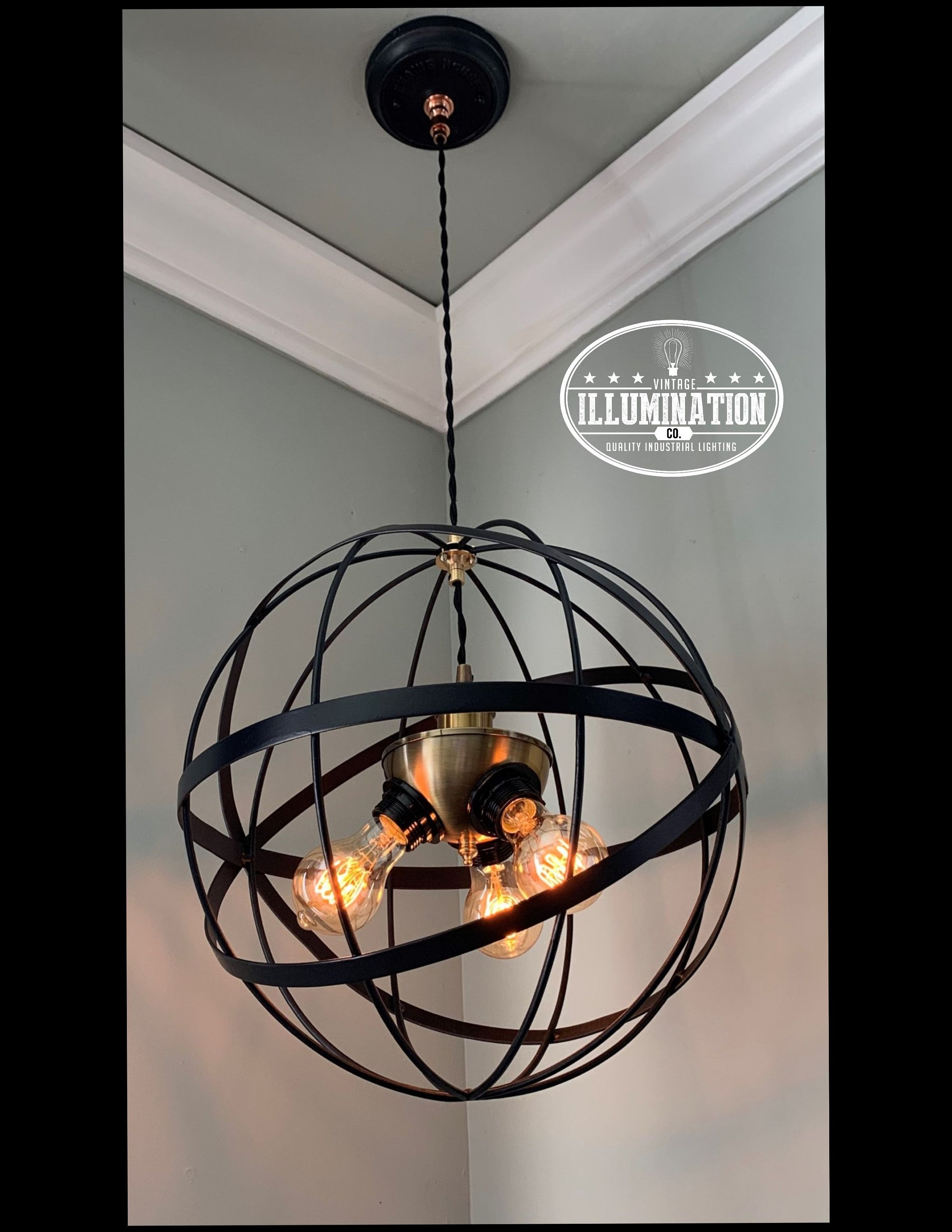 Metal Sphere 3 Bulb Chandelier 15 5 Diameter 3ft From Celing
