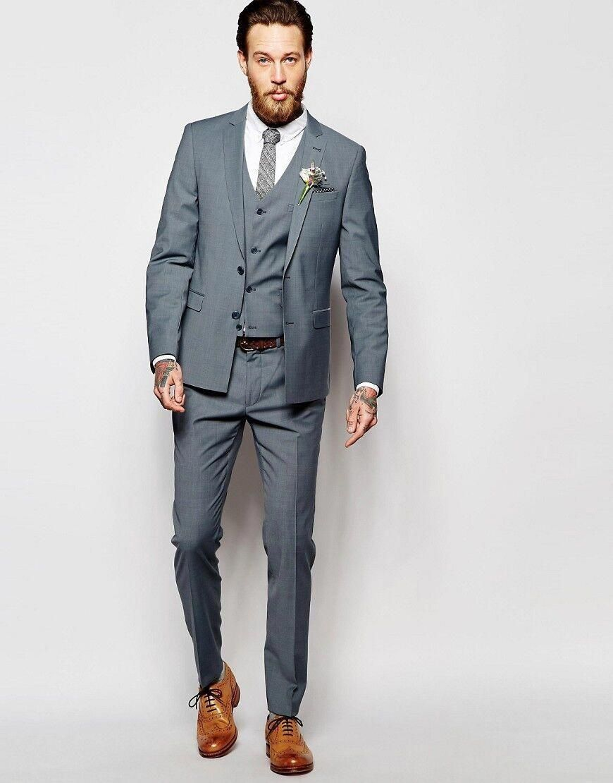e5d99beab90 Latest Coat Pant Designs Grey Men Suit Formal Skinny Simple Wedding Blazer  Prom Custom Modern Blazer