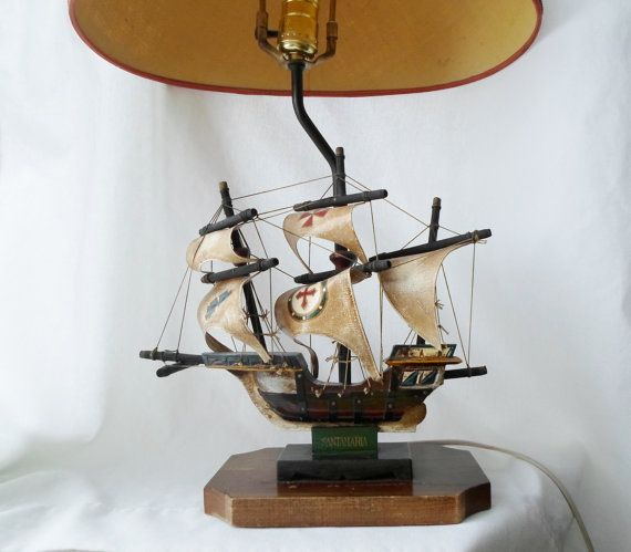 Brilliant Vintage Wooden Santa Maria Ship Lamp Table Lamp Boat Interior Design Ideas Clesiryabchikinfo
