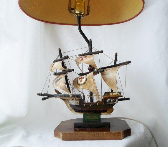 Surprising Vintage Wooden Santa Maria Ship Lamp Table Lamp Boat Home Remodeling Inspirations Gresiscottssportslandcom
