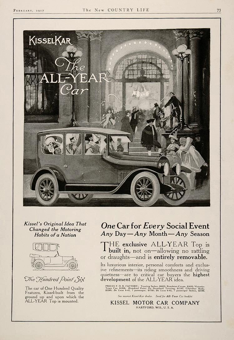 1917 Kissel Ad | Kissel cars from Hartford WI | Pinterest | Ads and Cars
