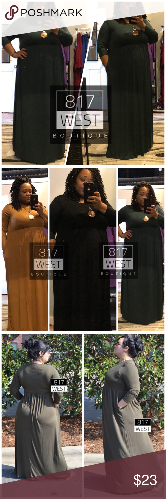 Plus size green maxi dress with pockets hunter boutique my posh