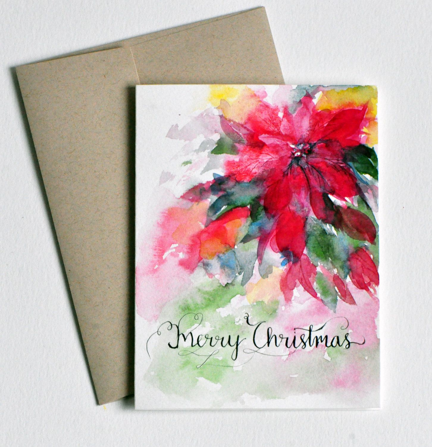 Hand lettered hand painted watercolor christmas card for Painted christmas cards