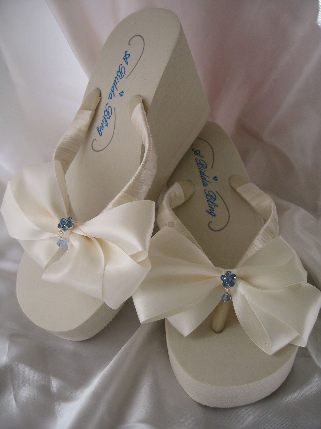 ece67c626 Wedding Shoes Ivory Bridal Shoes Ivory or White Flip Flops Sandals with  Ivory or White Satin Bow and Something Blue Crystal Flowers.  49.99