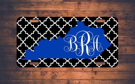 kentucky monogram license plate car tag uk wildcats ky custom