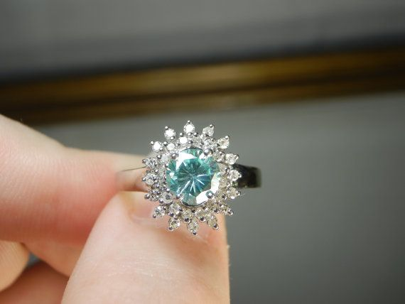 Video 0 96tcw Light Blue Moissanite & Double Natural Diamond Halo