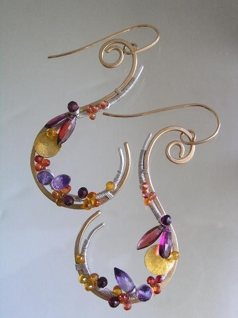 Standing Out...Large Curvaceous Mixed Metal Sterling and Gold Filled Curl Earrings w/sapphires, garnet and amethyst.