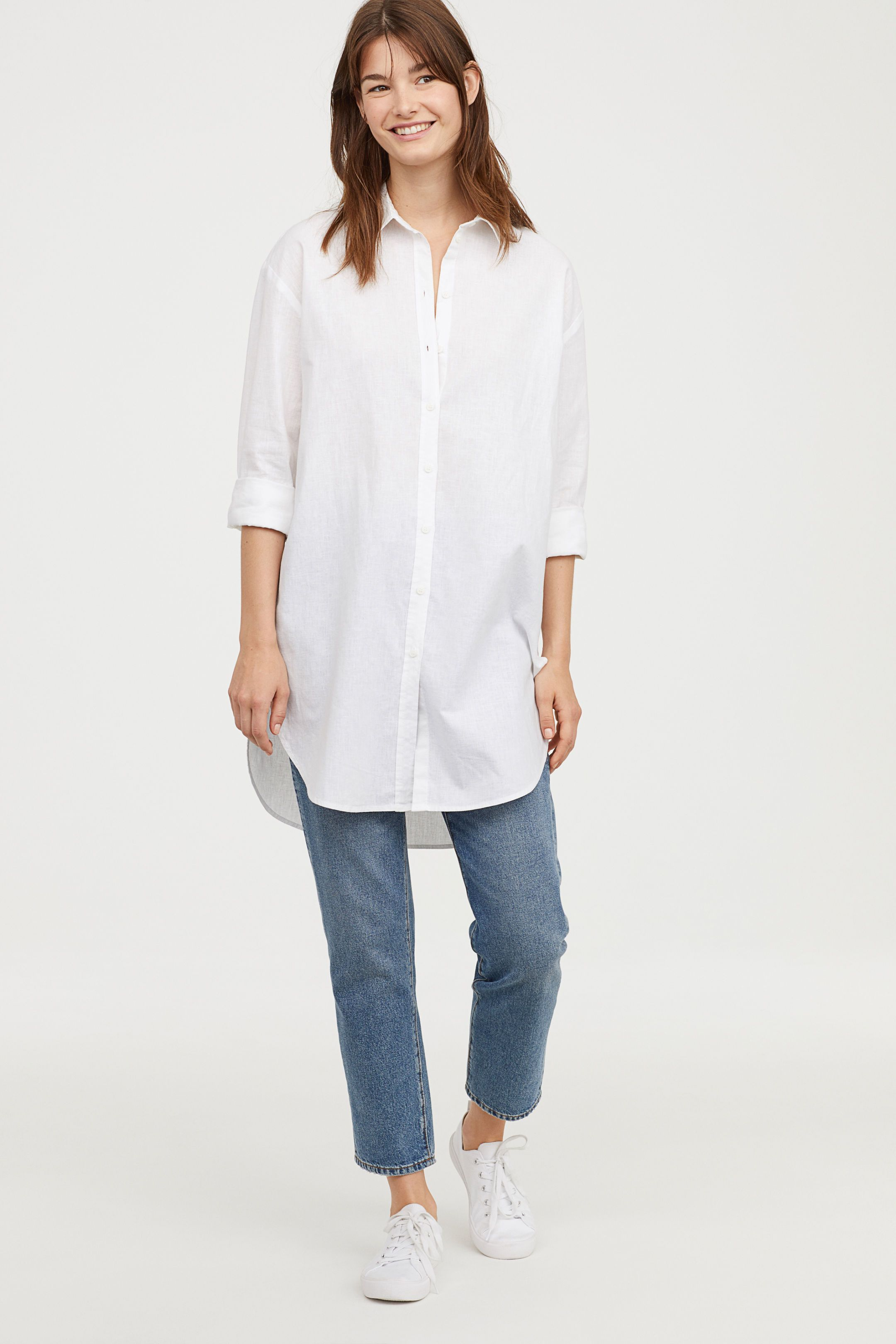 dc86eac1100 Long Linen-blend Shirt - White - Ladies