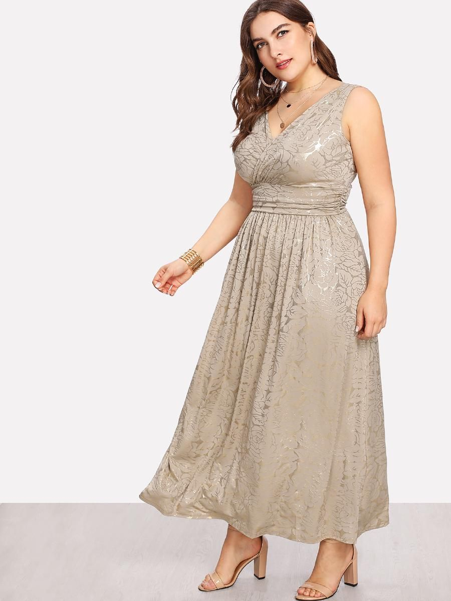 Plus Fit Flare Surplice Wrap Dress Shein Sheinside Wrap Dress Surplice Wrap Dress Dresses [ 1199 x 900 Pixel ]