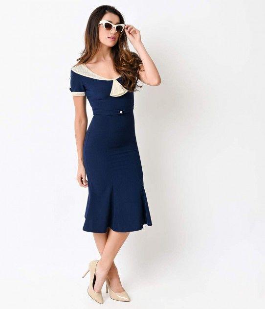 5fad2ed06e9 Stop Staring! 1930s Navy   Ivory Lace Cap Sleeve Railene Dress ...
