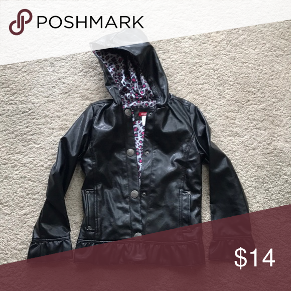 Girls Bongo Black Vinyl Pvc Jacket Coat 10 12 Great Girls Bongo Shiny Black Hooded Pvc Vinyl Jacket In A Size 10 12 Snap Jackets Clothes Design Coats Jackets
