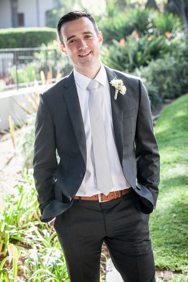 Rustic elegant groom style: Charcoal grey suit, silver tie and ...