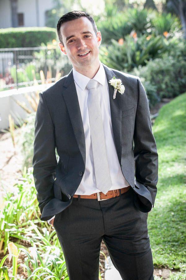 Rustic Elegant Groom Style Charcoal Grey Suit Silver Tie And Brown Belt