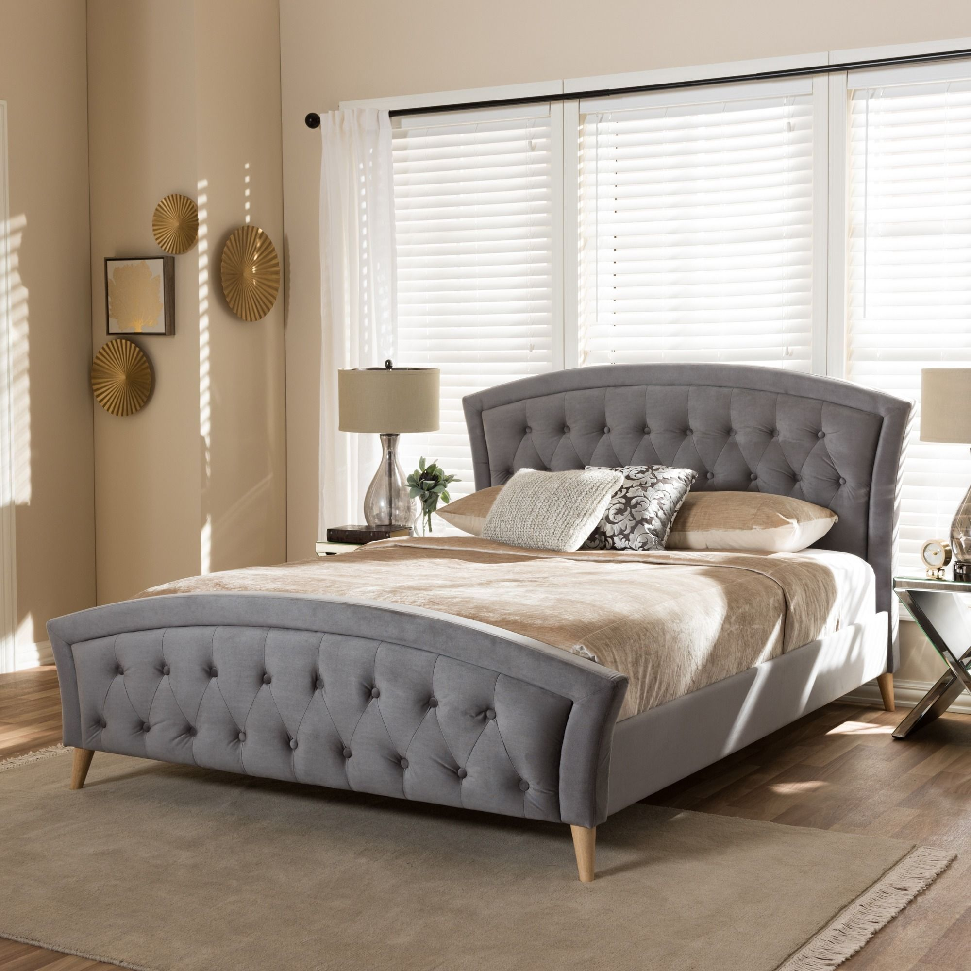 Contemporary Fabric Platform Bed By Baxton Studio King Grey