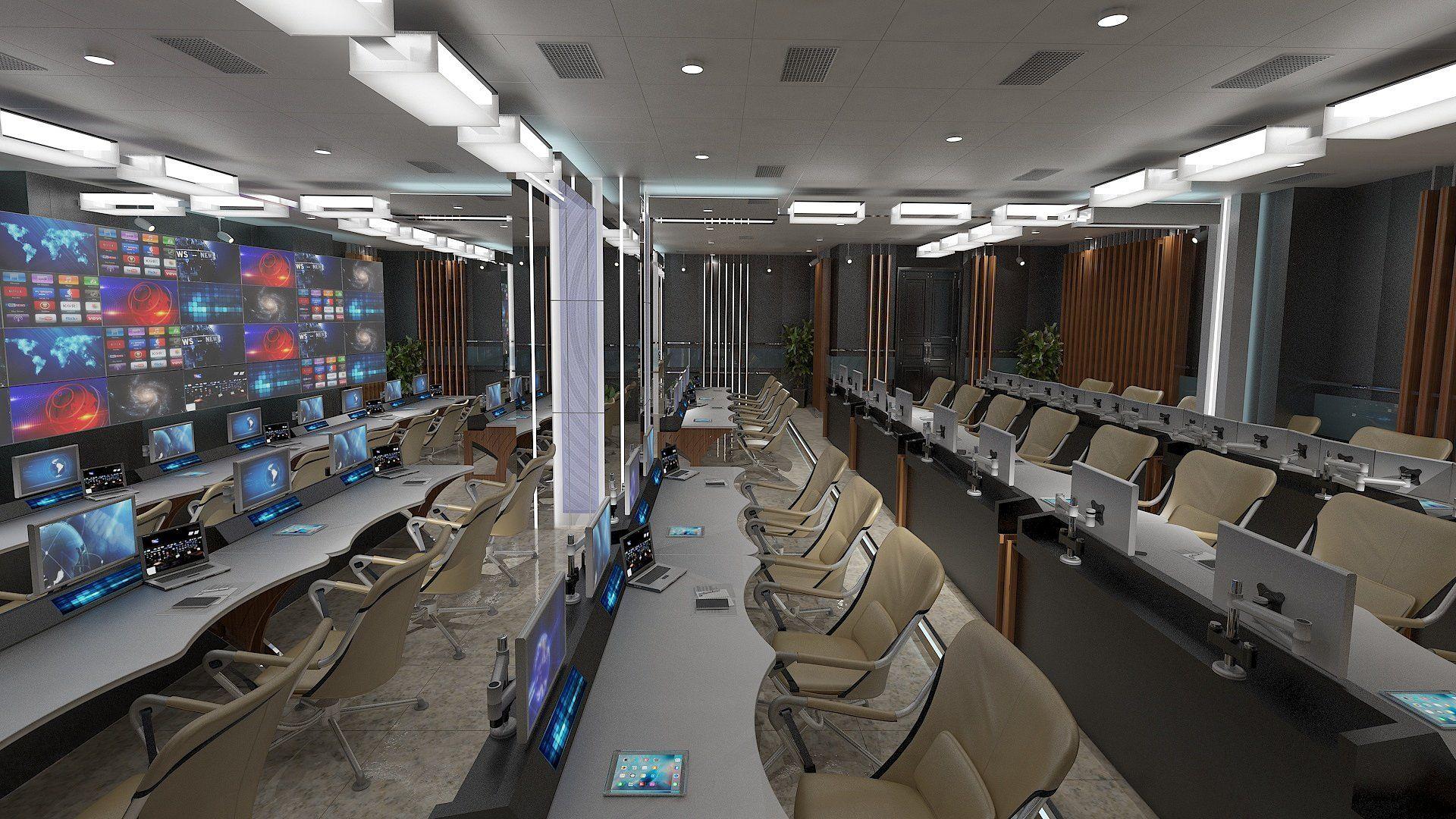 TV Studio Control Room 1 Studio, 3d model, 3d architecture
