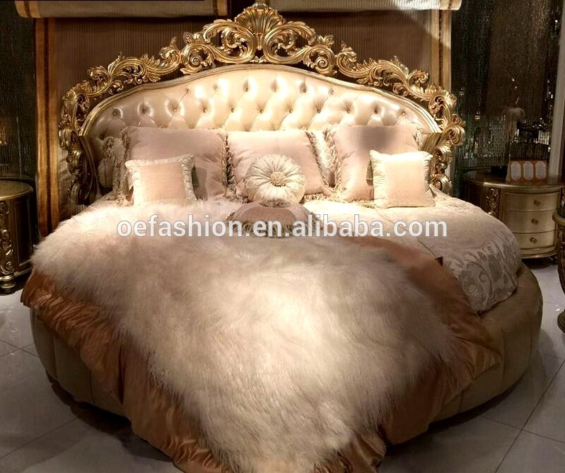 Romantic circle shape wood wedding bed, Luxury carving round bed