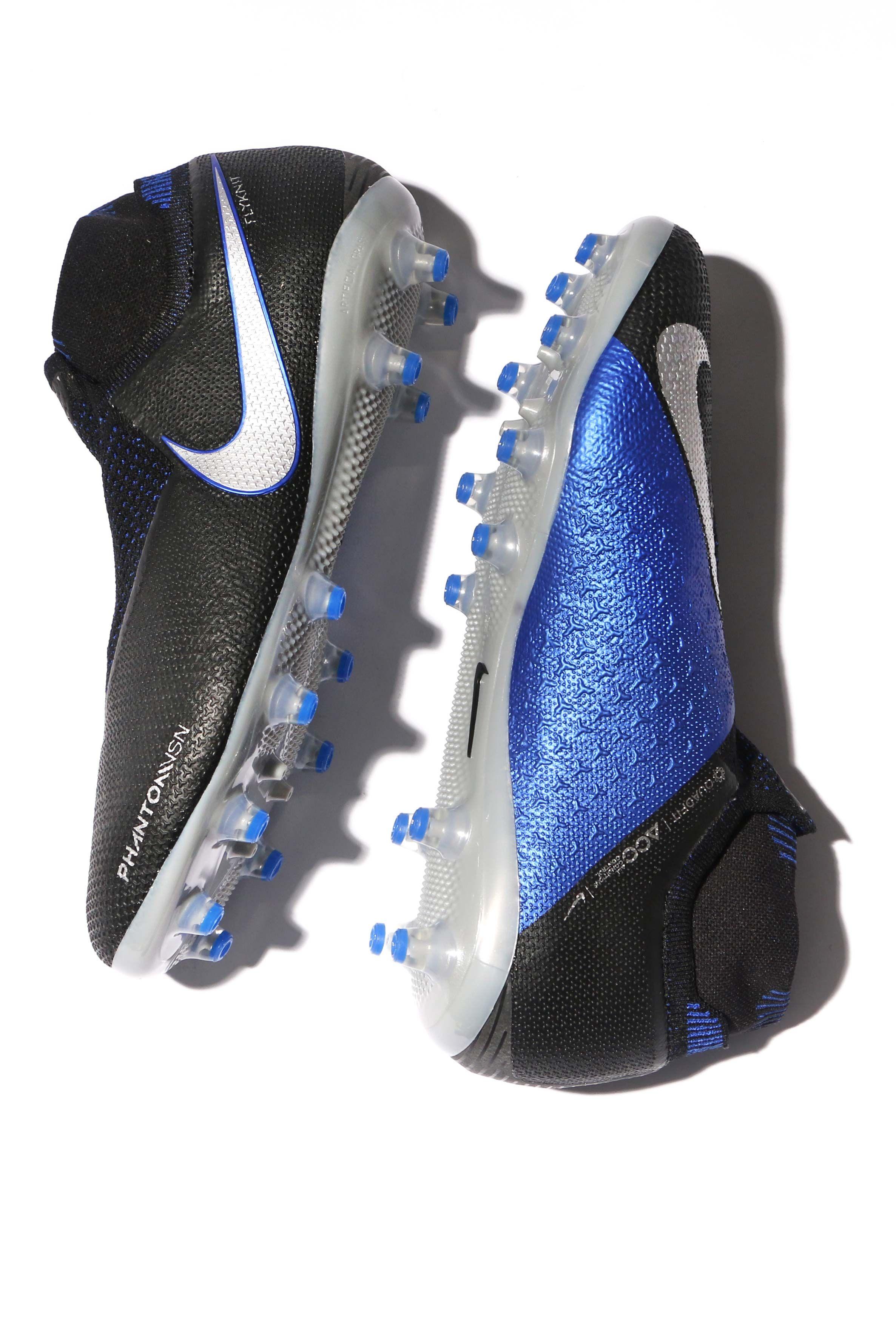 f98a37b77ec84 Botas de fútbol con tobillera Nike Phantom Vision Elite - negras y azules  Las  PhantomVsn