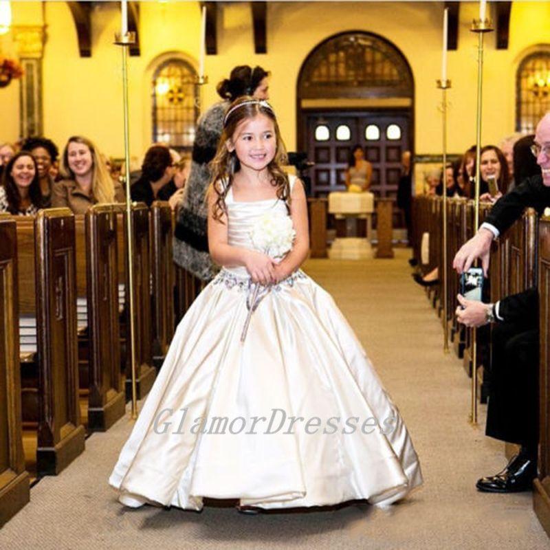 Princess Flower Girl Dresses,White Flower Girl Dresses,Pretty Flower