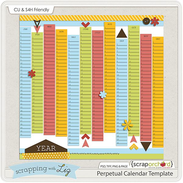 Digital Scrapbook Perpetual Calendar Template Helpful reminders - perpetual calendar templates