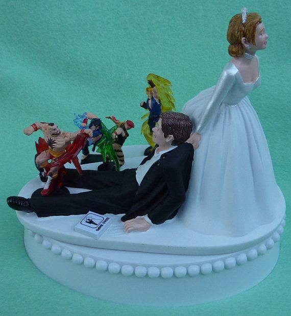 Wedding Cake Topper Street Fighter Video Player R Gaming Themed W Garter Display