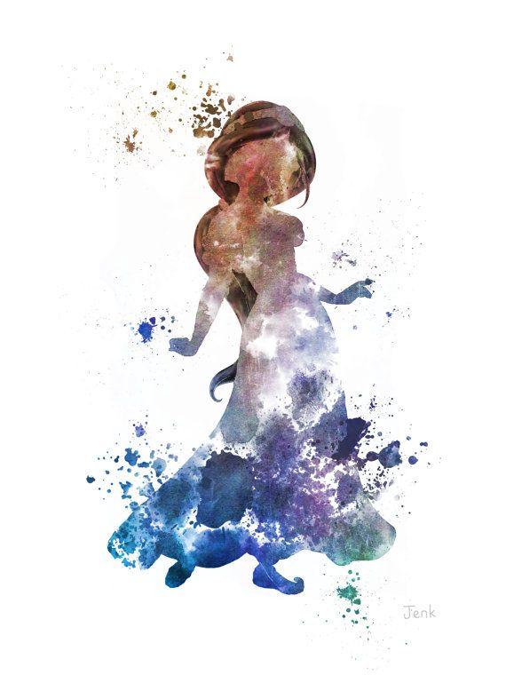 Princesse jasmine aladdin art print 10 x 8 illustration - Peinture princesse disney ...