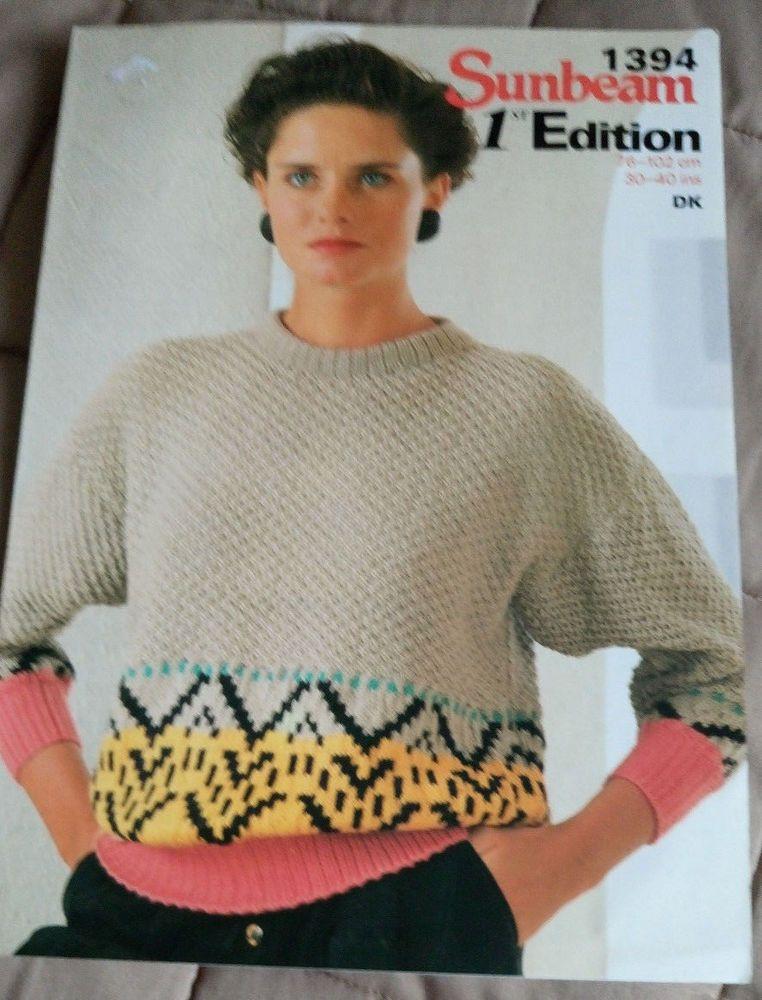 Woman's Textured Sweater Fair Isle Border Sunbeam 1394 knitting ...