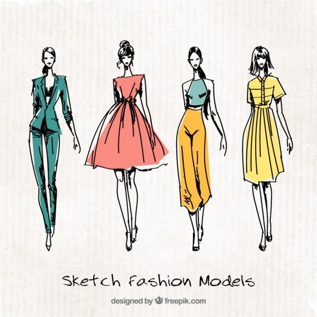 Download Four Cute Sketches Of Fashion Models For Free In 2020